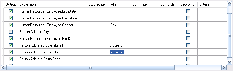 Defining field aliases