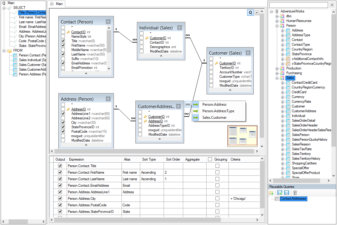 Visual Query Builder SQL component for  NET WinForms, ASP