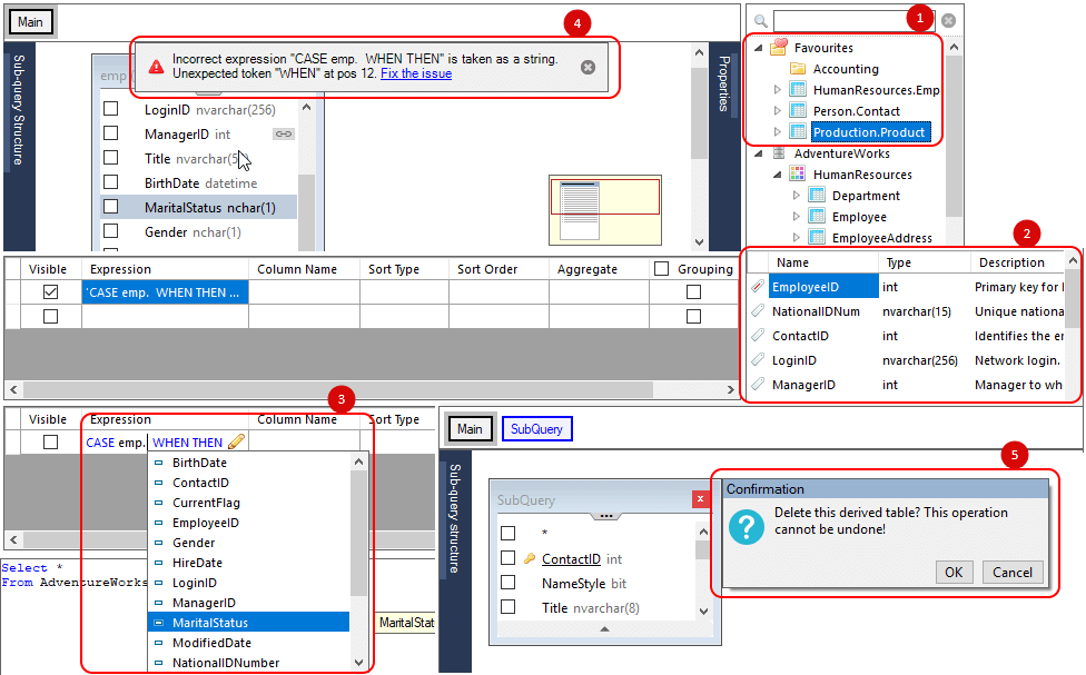 User interface improvements in the new version of Active Query Builder for .NET 3.5