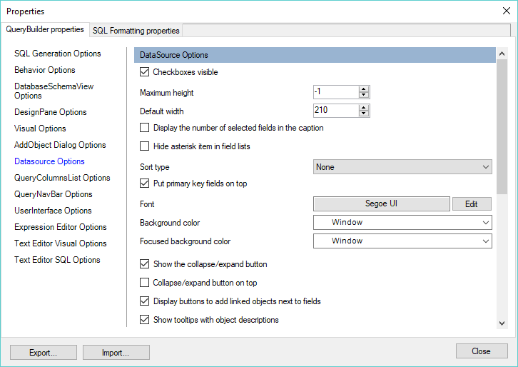 Active Query Builder: Component properties editing forms