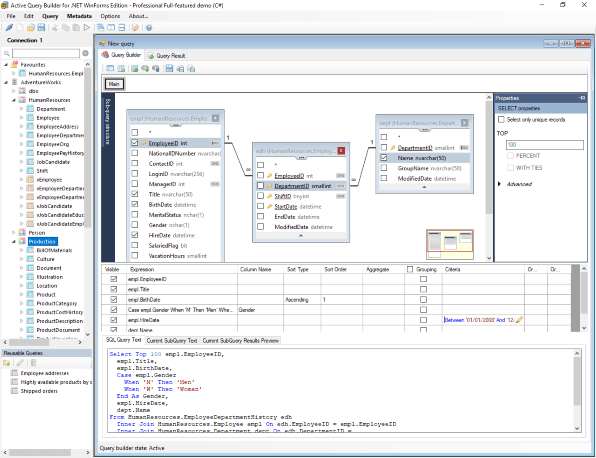 Build a query visually in Active Query Builder Full-featured MDI Demo for WinForms