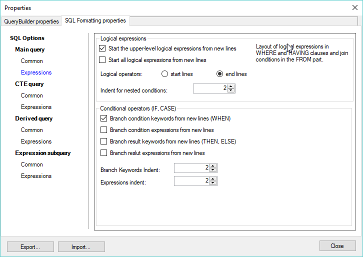 Active Query Builder: SQL formatting settings editing form