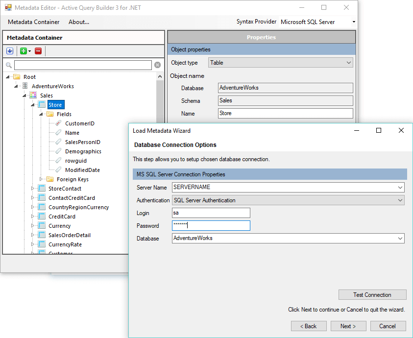 Active Query Builder: Metadata Container and Metadata Loading Wizard