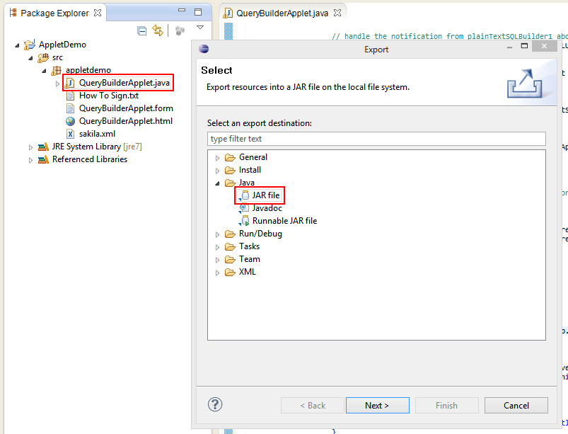 How to build the Applet demo in Eclipse? – Active Query Builder
