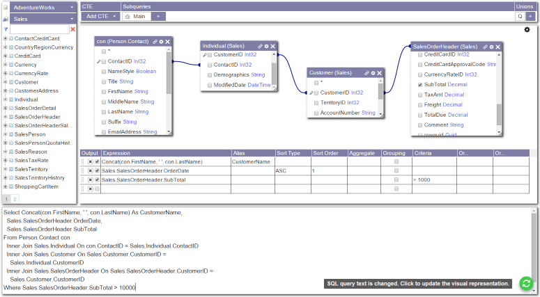 The new flex design of Active Query Builder ASP.NET Edition