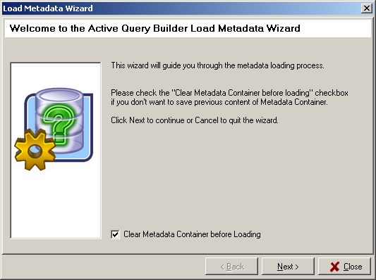 Load Metadata Wizard Step 1