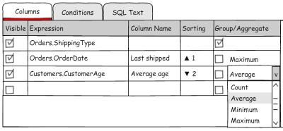 Compact query columns list