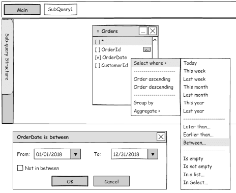 Performing actions with query columns right in the design pane