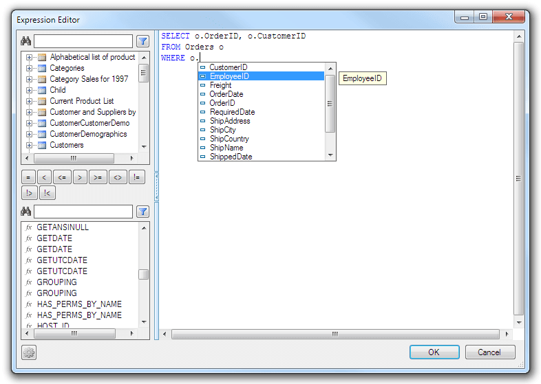SQL Text and Expression Editor
