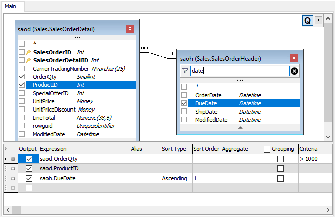Filtering fields in datasources on the Design Pane