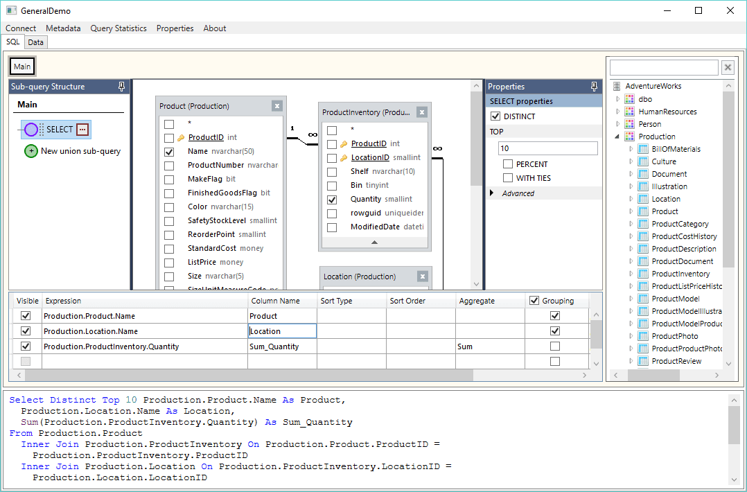 Active Query Builder for .NET 3.2 improves the user experience with the new docked side panels.
