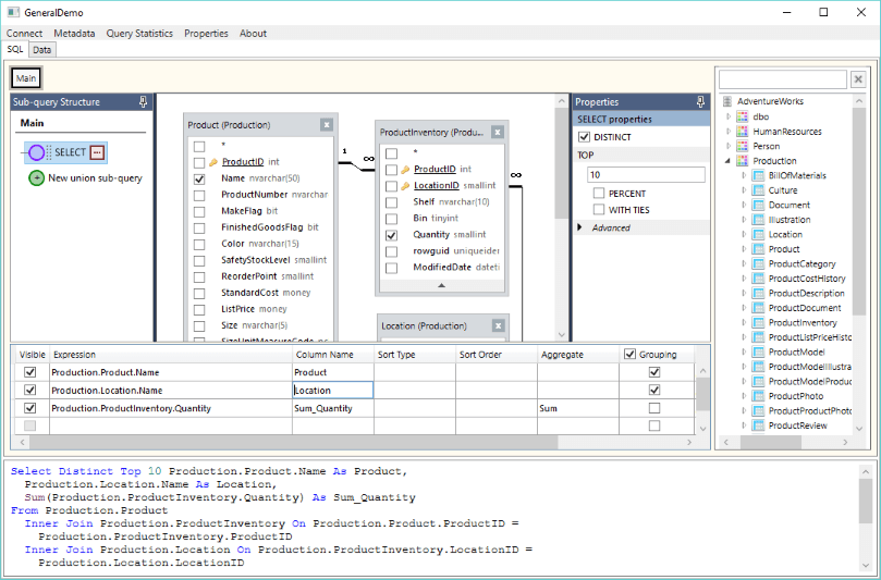 Sidebar panels to edit SQL query properties and manage sub-queries