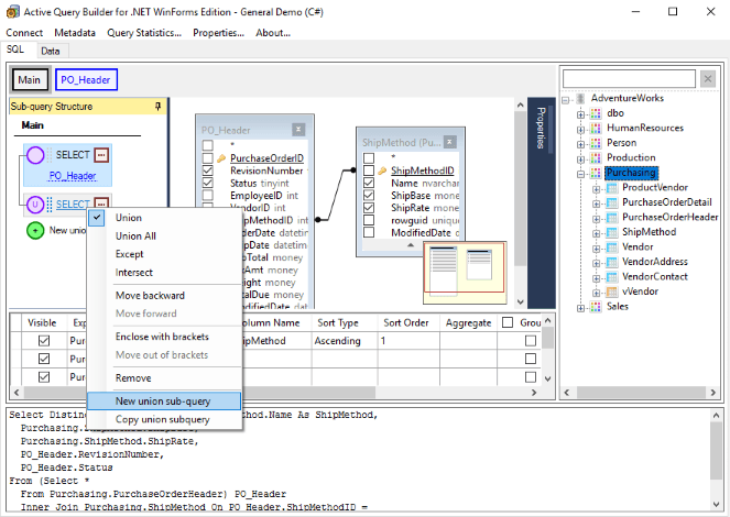 Sub-query Navigation Bar in Active Query Builder for .NET