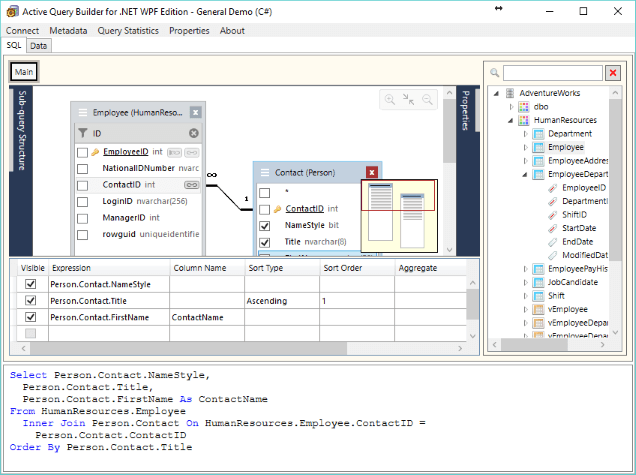 User interface improvements in Active Query Builder for .NET 3.4: easy addition of linked objects, search and filtration in field lists
