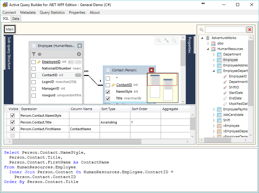 Active Query Builder for .NET 3.4 lets add linked objects easier.